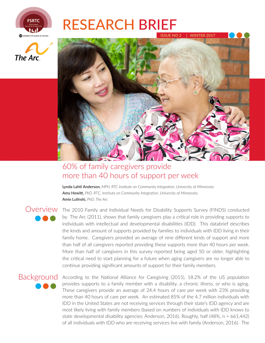 Family Caregivers Of Adults With Intellectual And Developmental