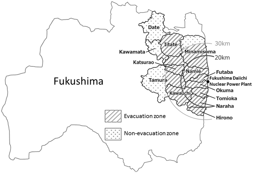 Map showing the location of the Fukushima Daiichi Nuclear