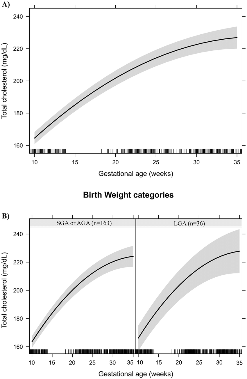 hight resolution of total cholesterol changes during pregnancy in a sample of 199 women and their newborns followed at