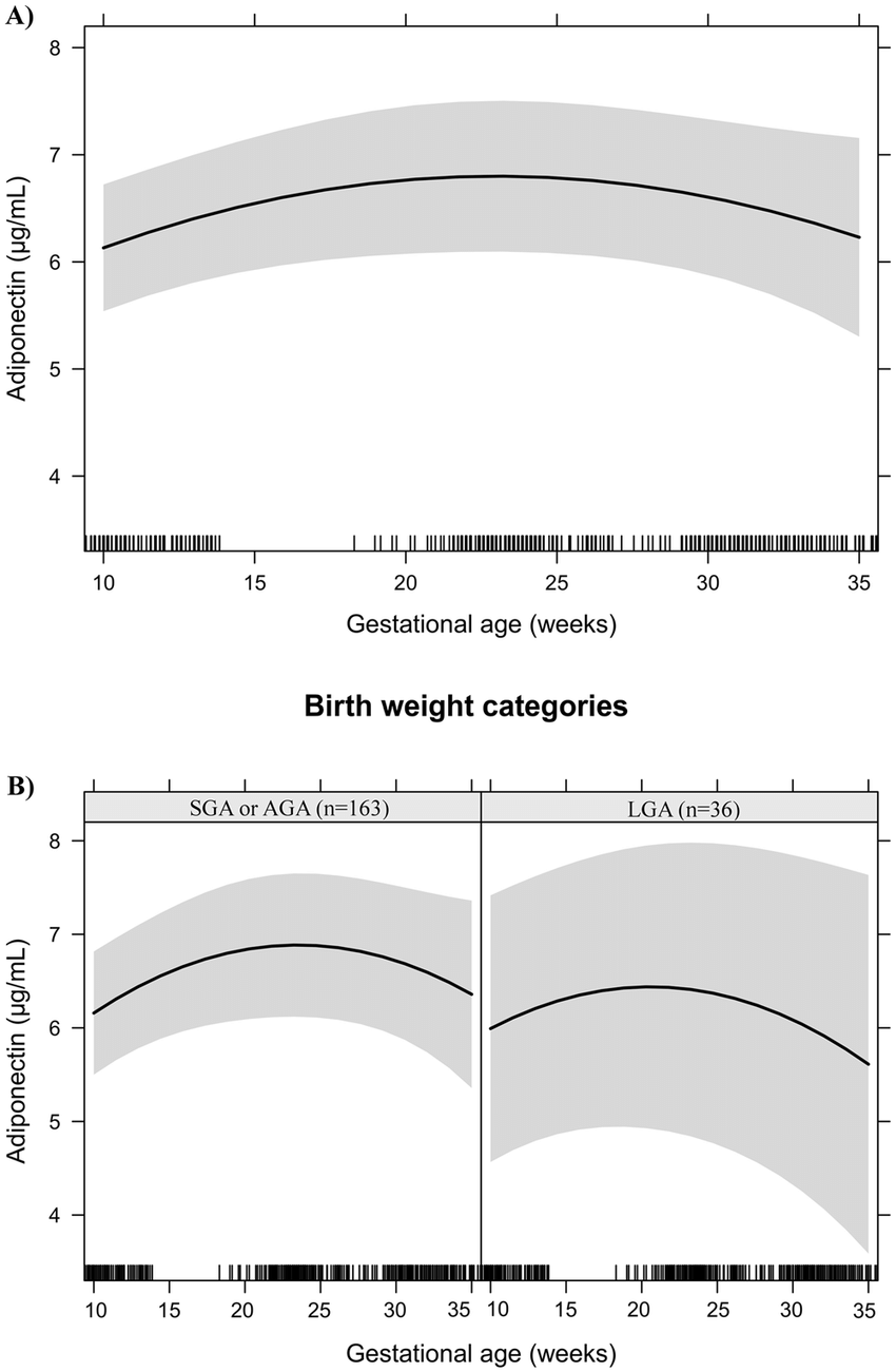 hight resolution of adiponectin changes during pregnancy in a sample of 199 women and their newborns followed at a