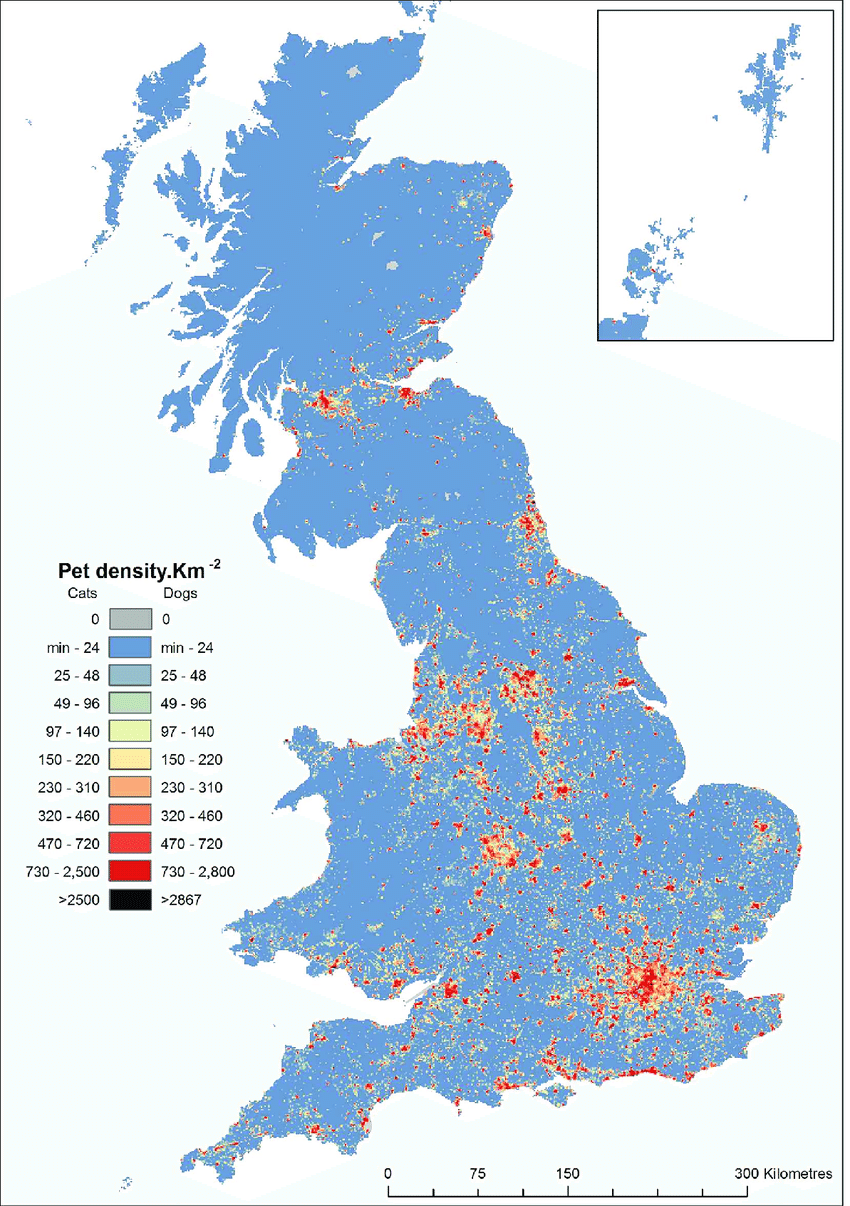 hight resolution of density of pet cats and dogs across gb density predicted from mean population estimates