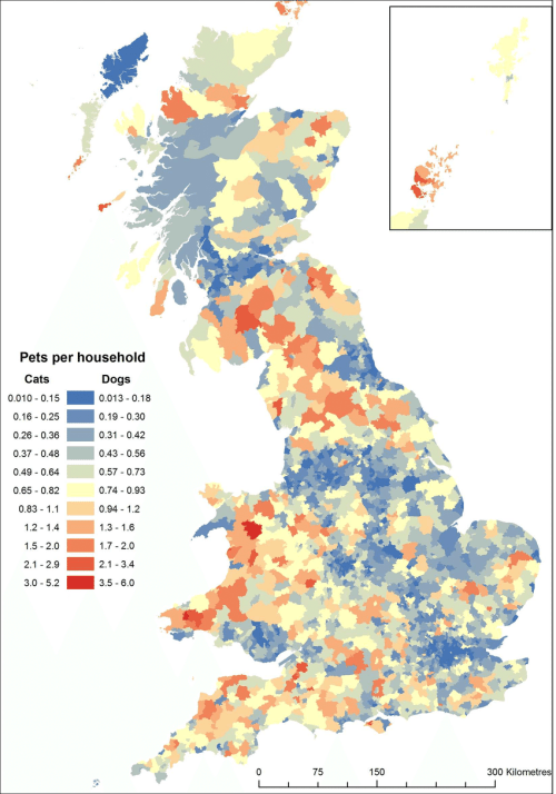 small resolution of spatial variation in the number of pet cats and dogs per household rate of ownership