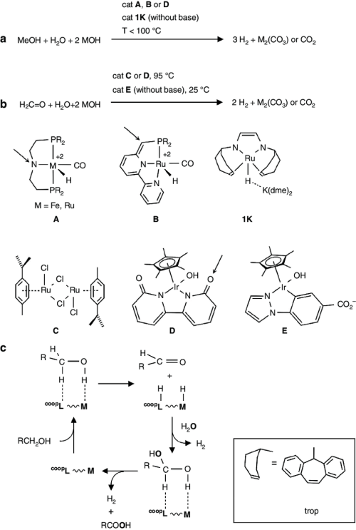 small resolution of homogeneously catalysed reforming reaction of meoh and formaldehyde catalysed dehydrogenation of a