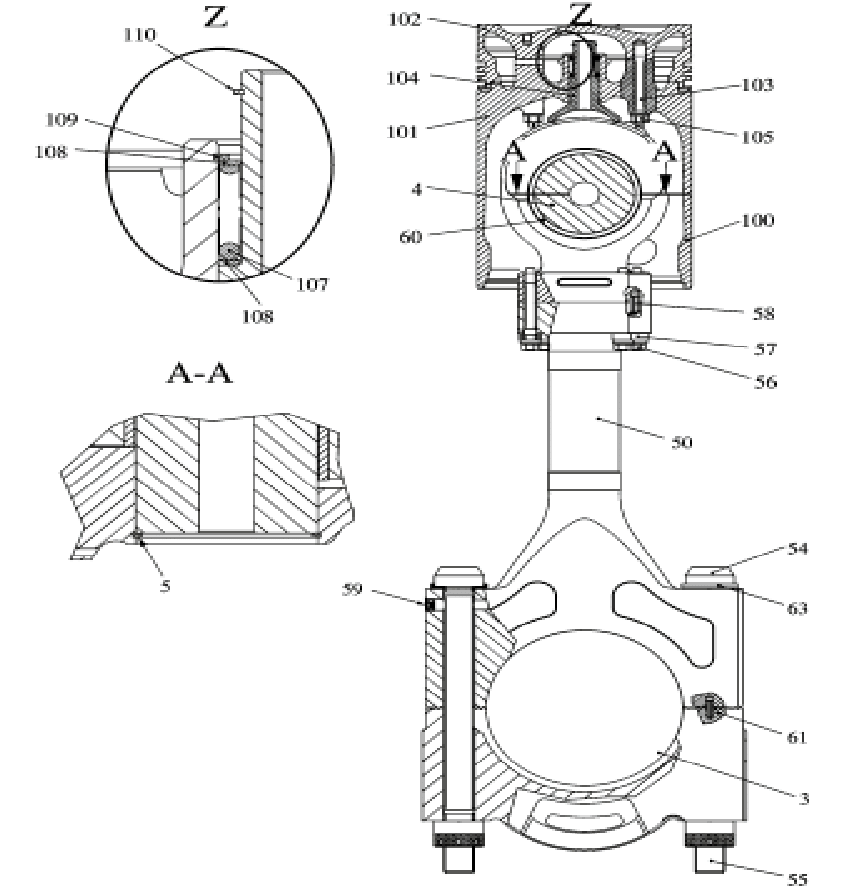 Design drawing of the cylinder of the diesel engine, where