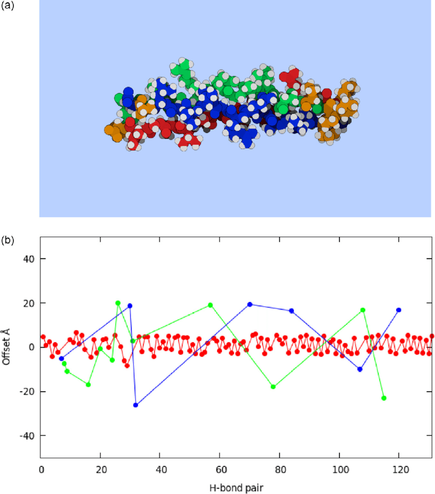 hight resolution of  a all atom model of thp type 1 alpha 1 collagen fragment b cumulative vector sums bb red color bs green and ss blue bs and ss enhanced fivefold