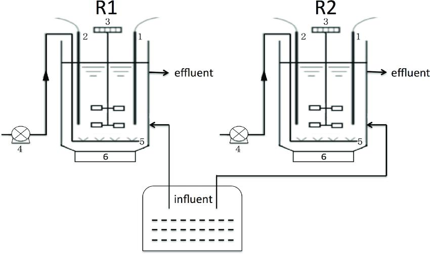 Schematic diagram of SBRs. 1. pH meter; 2. DO meter; 3