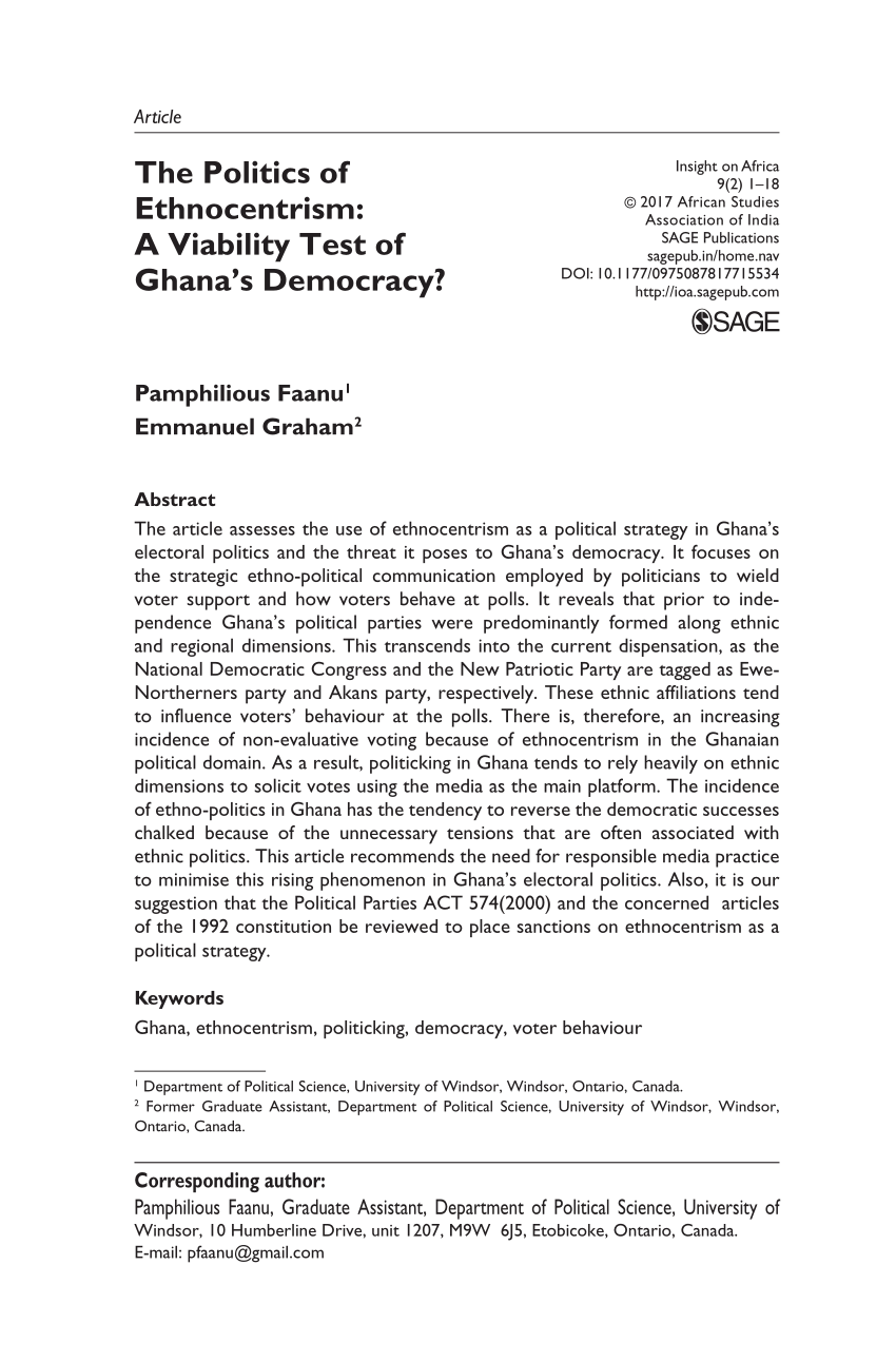 Ethnicity And Electoral Politics In Ghana's Fourth Republic