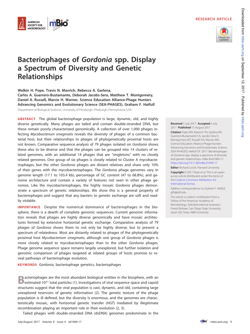 PDF Genome Sequence Of Gordonia Phage BetterKatz