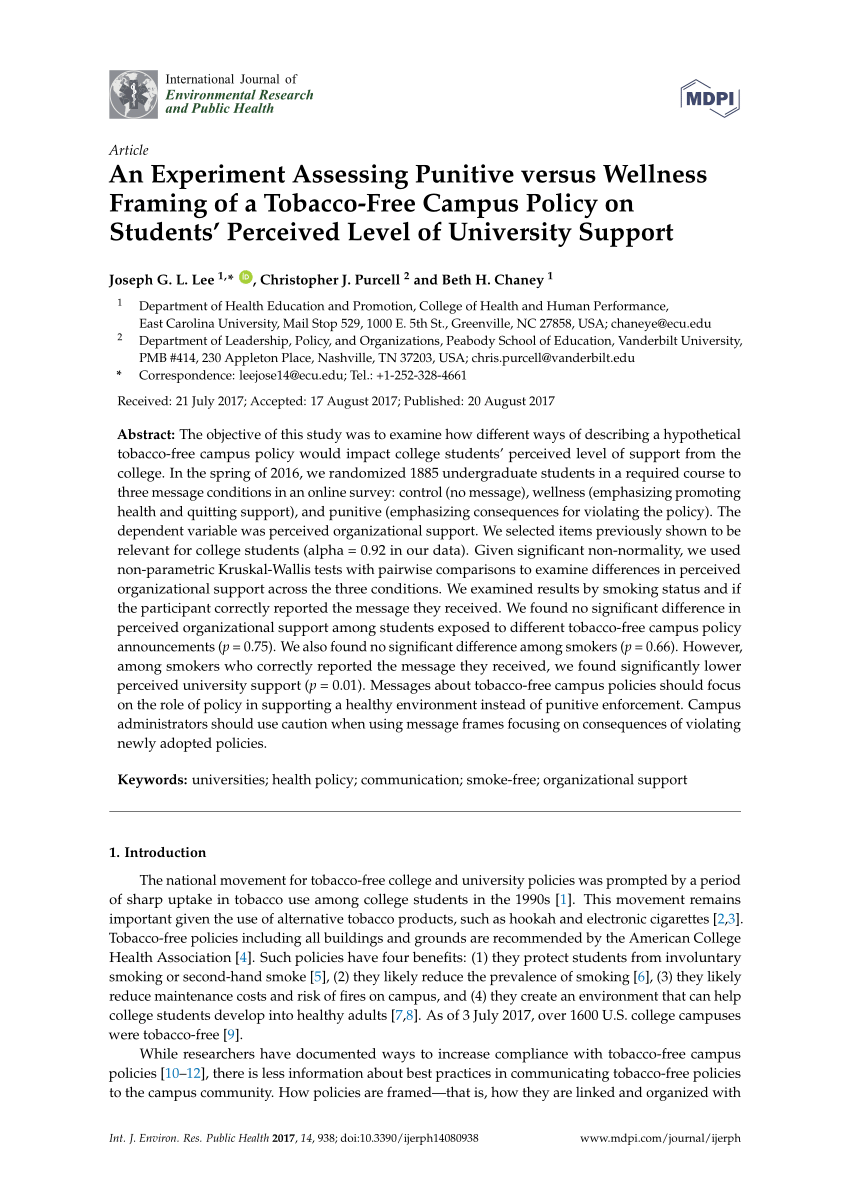 College Student Reactions To Smoking Bans PDF Download Available
