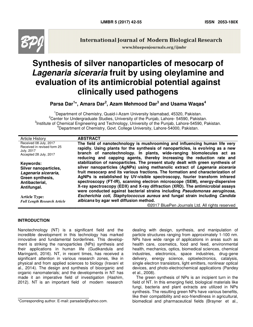PDF Green Synthesis Of Silver Nanoparticles Using Ocimum Leaf