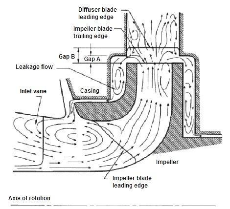 Schematic of fluid flow field within the hydraulic part of