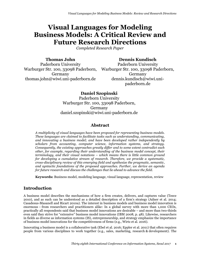 PDF Business Models An Information Systems Research Agenda