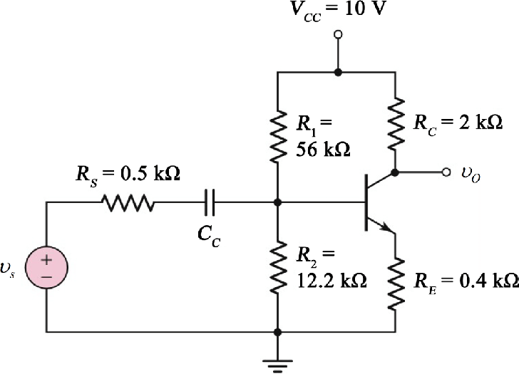 Voltage divider biasing common emitter amplifier