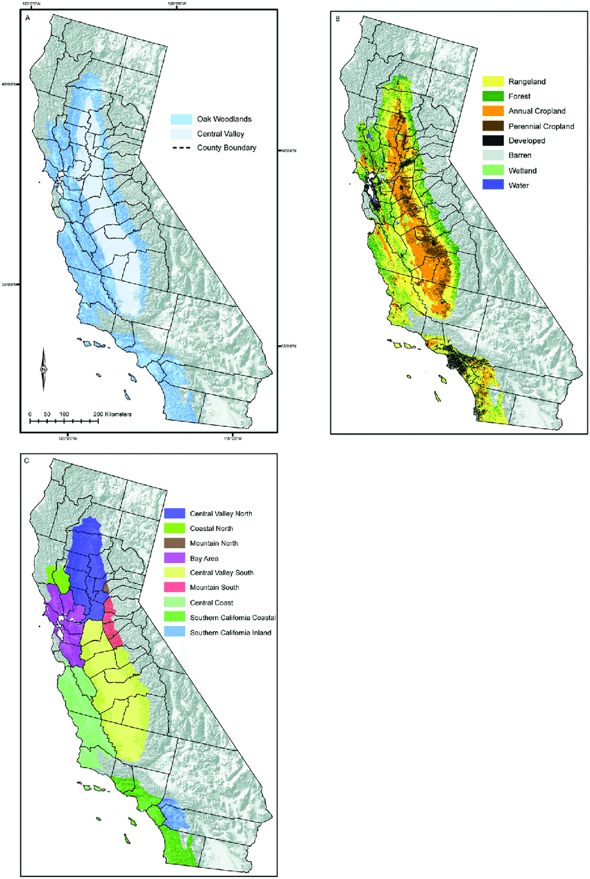 hight resolution of the mediterranean california study region a the oak woodlands and central valley ecological