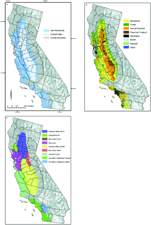 small resolution of the mediterranean california study region a the oak woodlands and central valley ecological