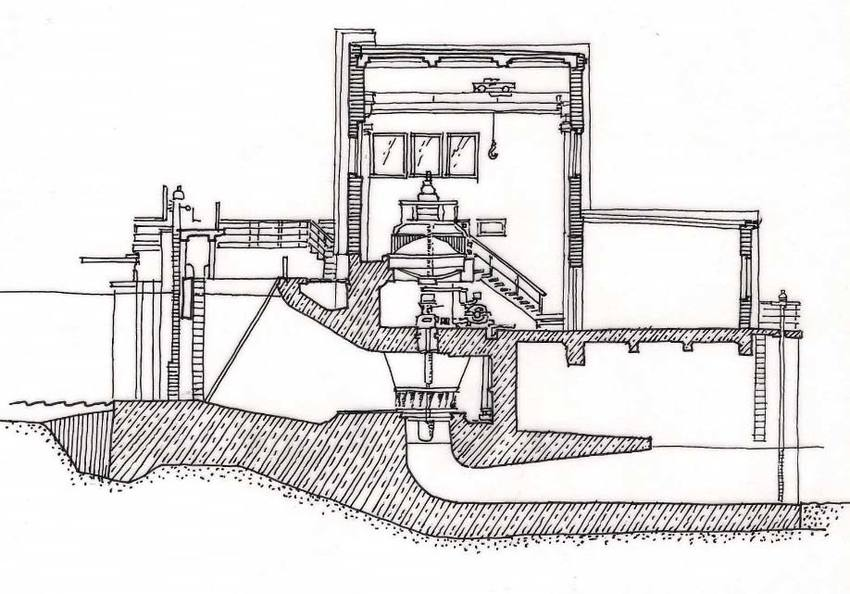 Ptusza hydropower plant, cross section (drawing made on