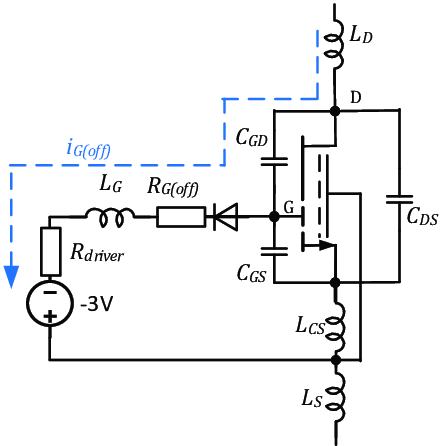 The equivalent circuit of GaN transistor with a driver