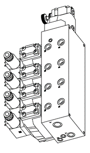 (a) Schematic diagram of electro-hydraulic valve block and