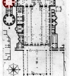 alfarano s plan of the old saint peter s the chapel of santa petronilla tiberii alfaranii [ 850 x 1629 Pixel ]