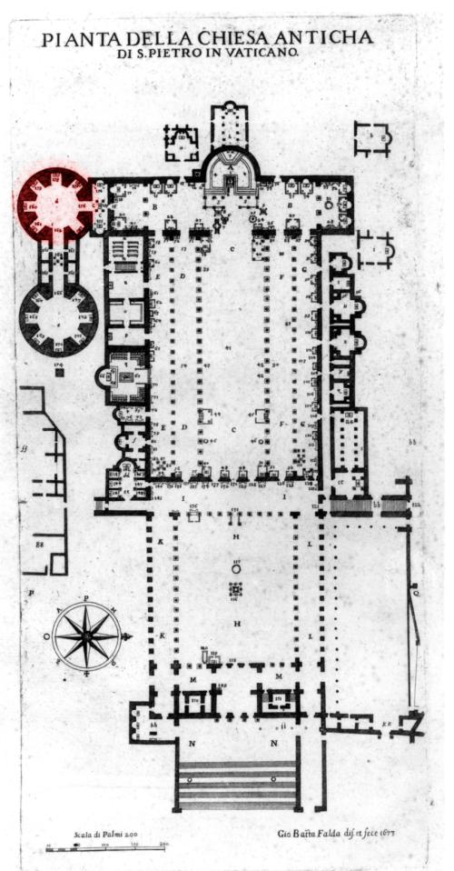 small resolution of alfarano s plan of the old saint peter s the chapel of santa petronilla tiberii alfaranii