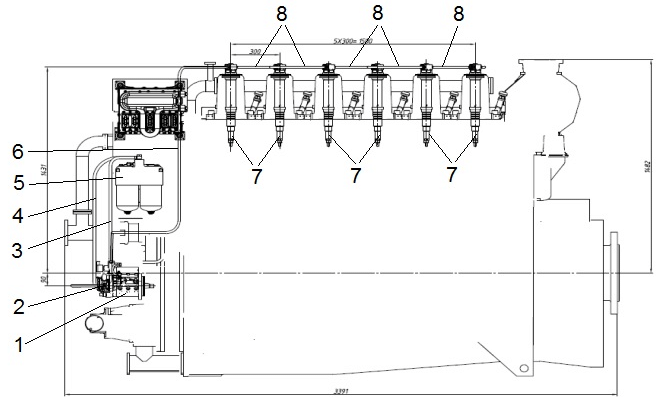 Layout of the CR fuel system on the 6-cylinder diesel