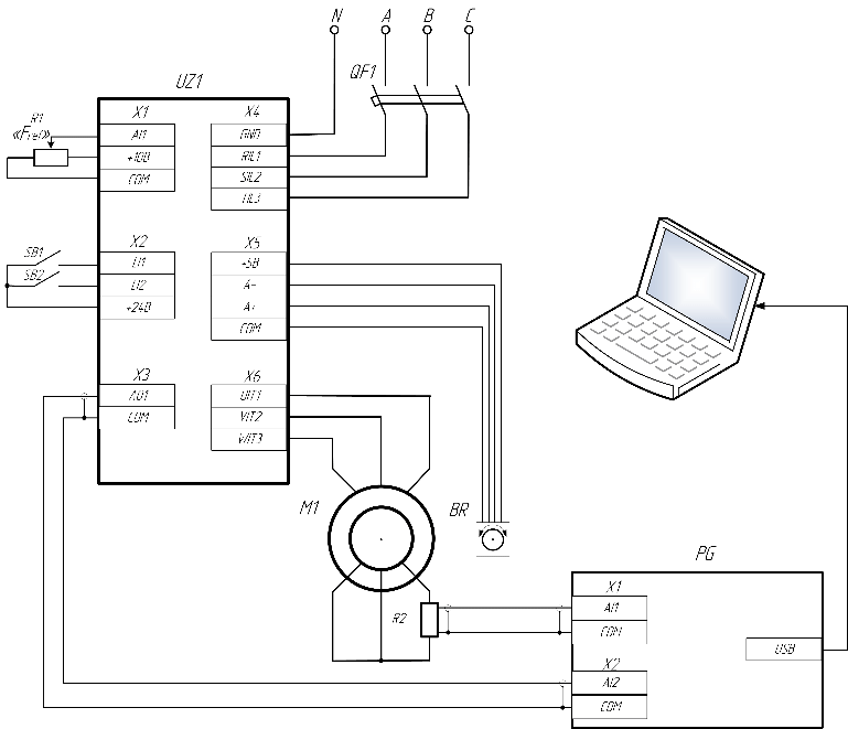 Schematic diagram of the drive with the slip-ring