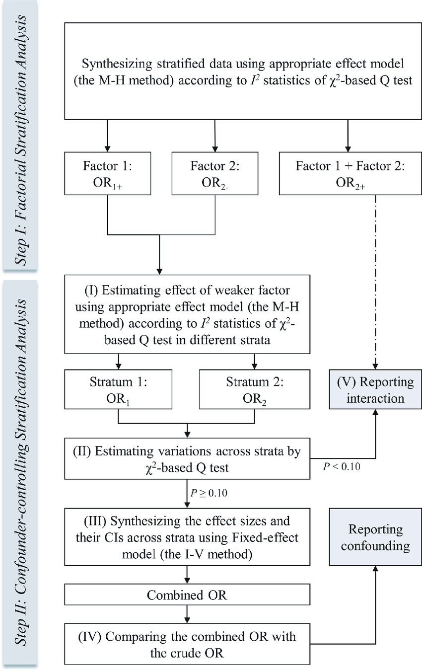 hight resolution of flow diagram of the process of standard stratification analysis in meta analysis