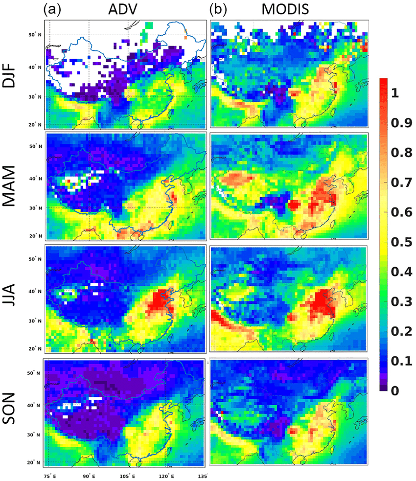 medium resolution of seasonally averaged maps of the atsr a and modis retrieved b aod download scientific diagram