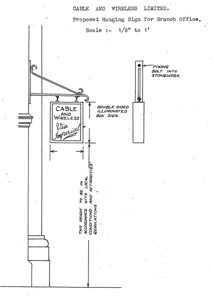 hight resolution of proposed hanging sign for post office branch of imperial cable and wireless 1934