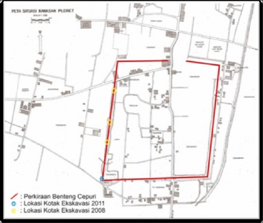 Gambar 3. Peta lokasi ekskavasi kawasan Pleret Bantul