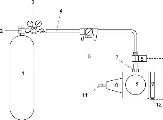 Scheme of compressed air engine: 1, storage cylinder; 2