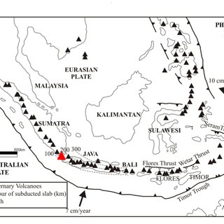 Tectonic map of Indonesia showing the interaction of 3
