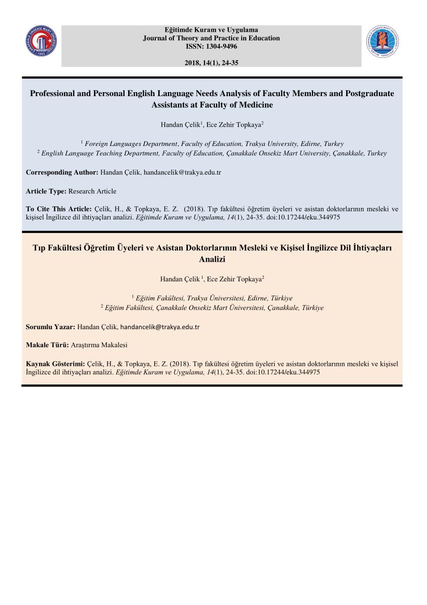 PDF An Investigation Into Medical Students' English Language Needs