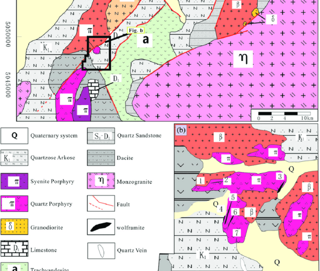 Geological Sketch Map A And The Distribution Of Rocks In Wolframite District B