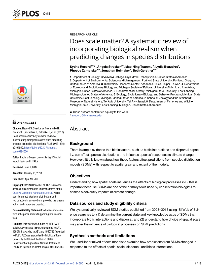 PDF Improving Species Distribution Models For Climate Change