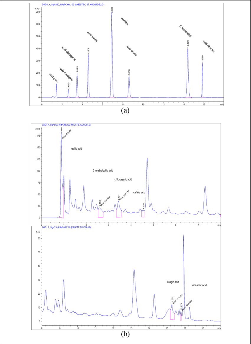 hight resolution of typical hplc dad chromatograms a standard polyphenols and b phenolic