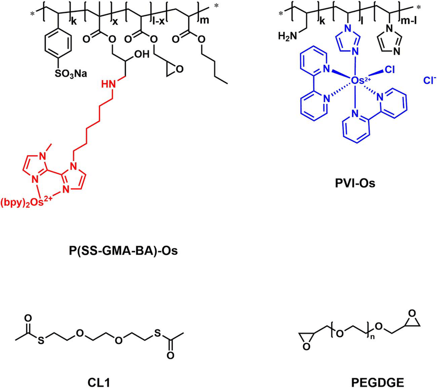 Proposed molecular structure of the redox polymers P(SS
