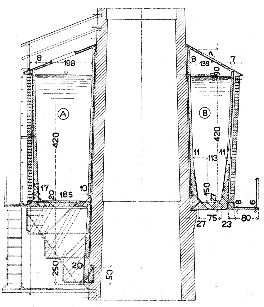 hight resolution of standard design of a reinforced concrete chimney reservoir on the left the reservoir is