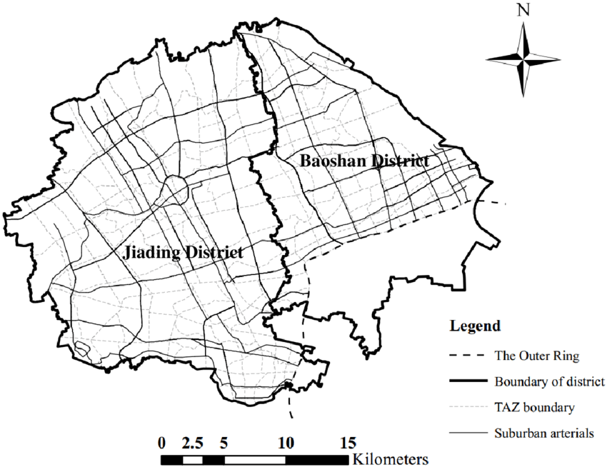 Suburban arterials in Jiading and Baoshan districts