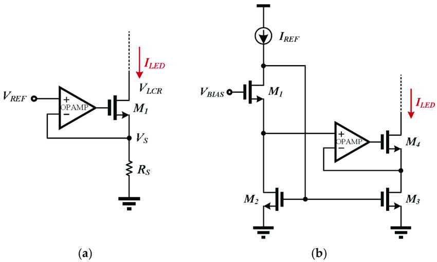 Constant current source with (a) a linear current