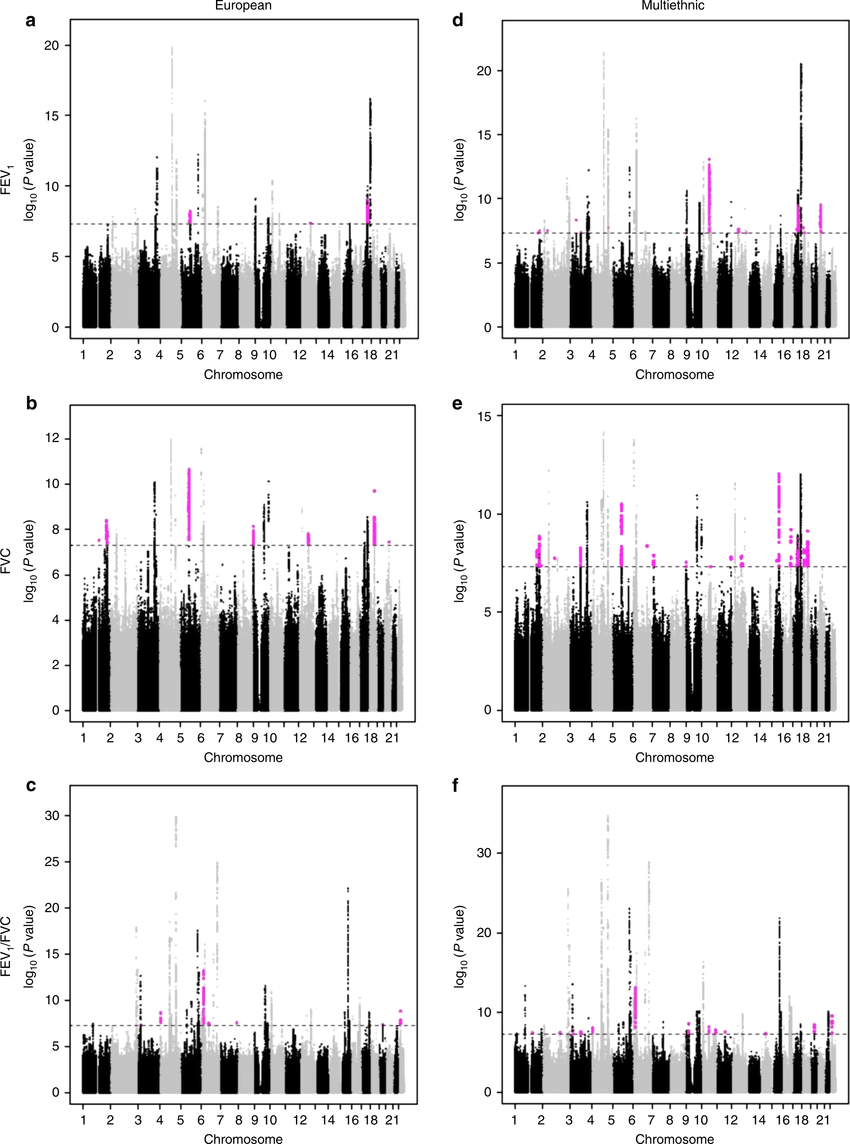 Manhattan plots of genome-wide association results for