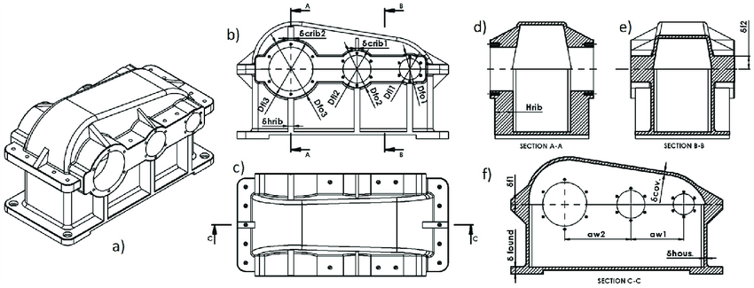 (a) Isometric view of the housing body and cover of the