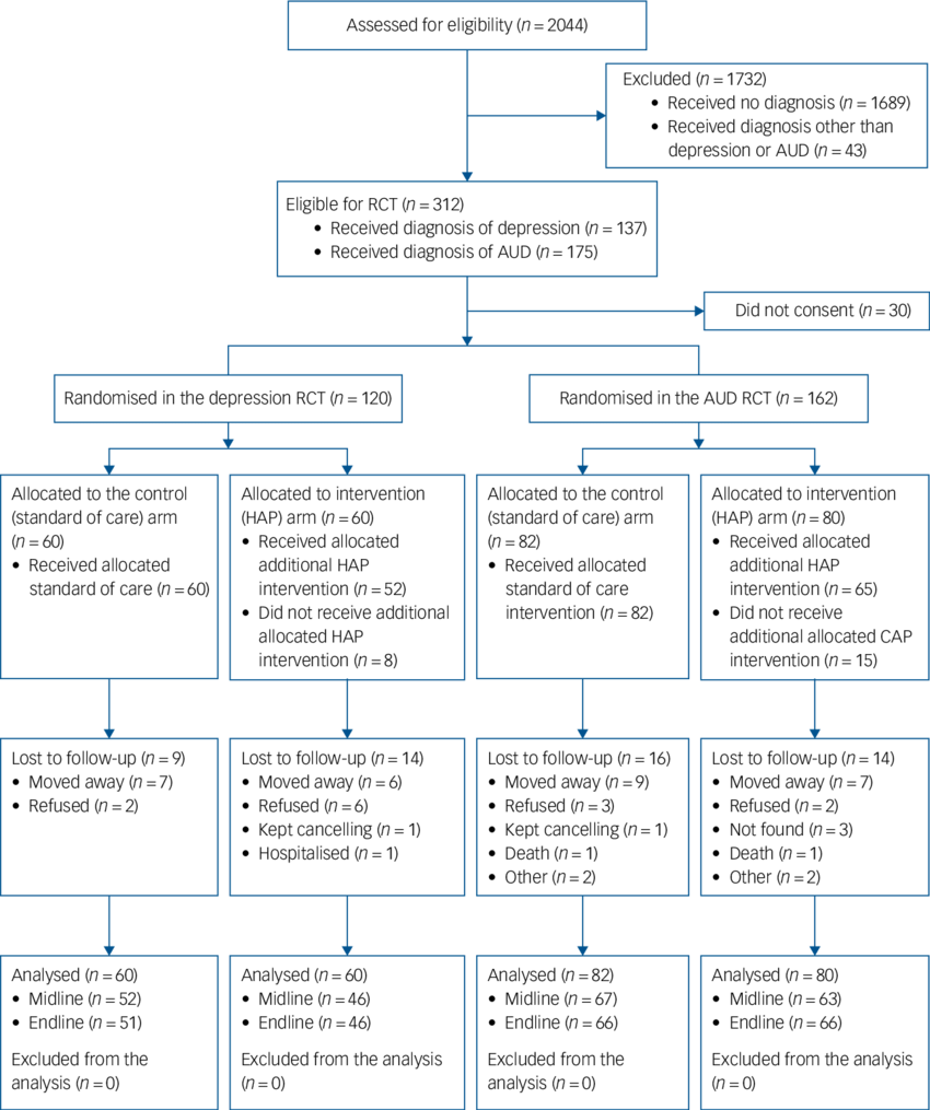 hight resolution of flow diagram of recruitment and follow up process aud alcohol use disorder