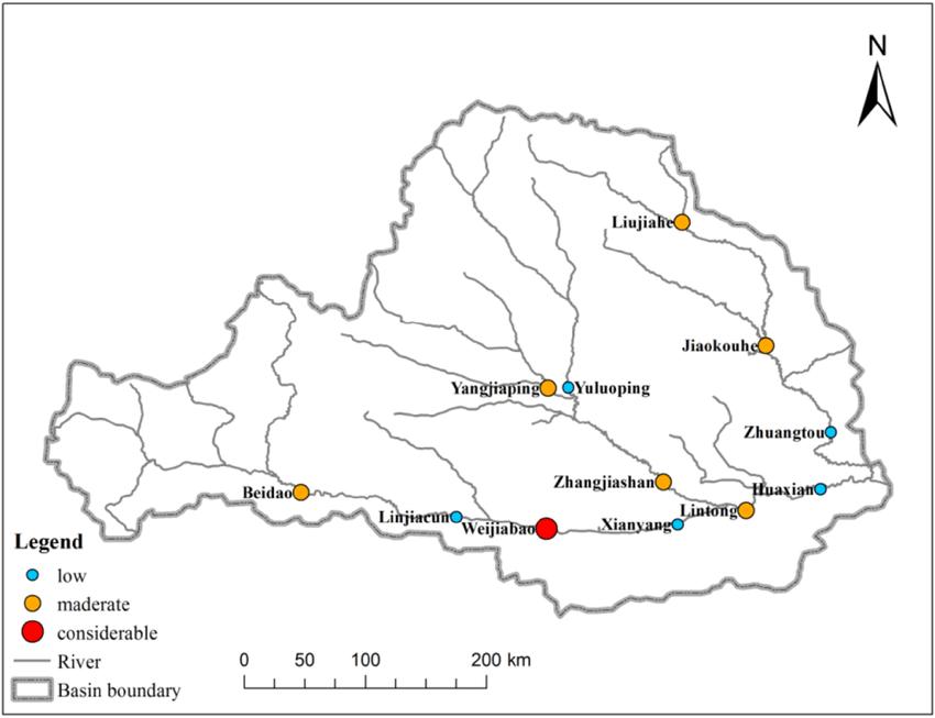 Potential ecological risk for Hg in the Wei River Basin