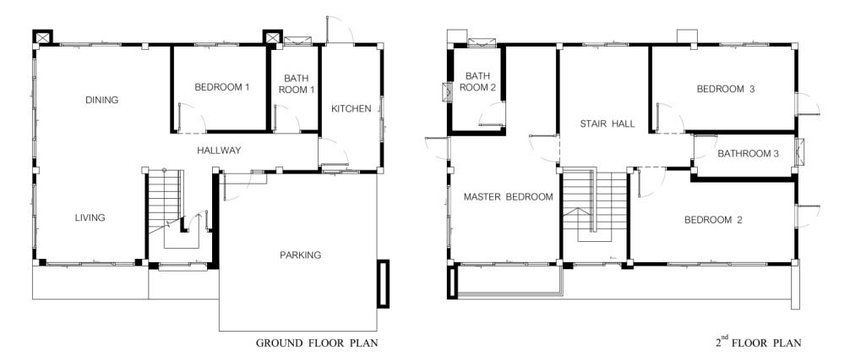 Ground floor and second floor plans of the houses in the