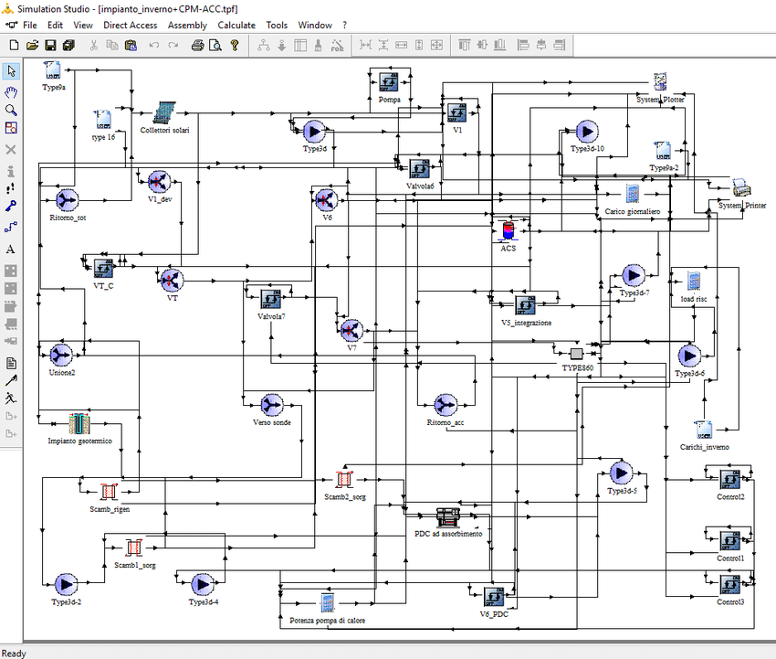Schematic of the Trnsys project of the HVAC plant model