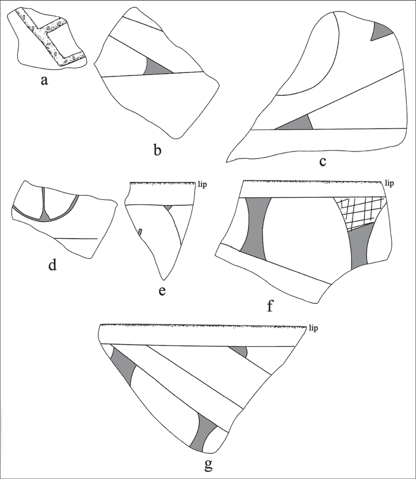 hight resolution of selected decorative elements on the sherds from the pine tree farm site