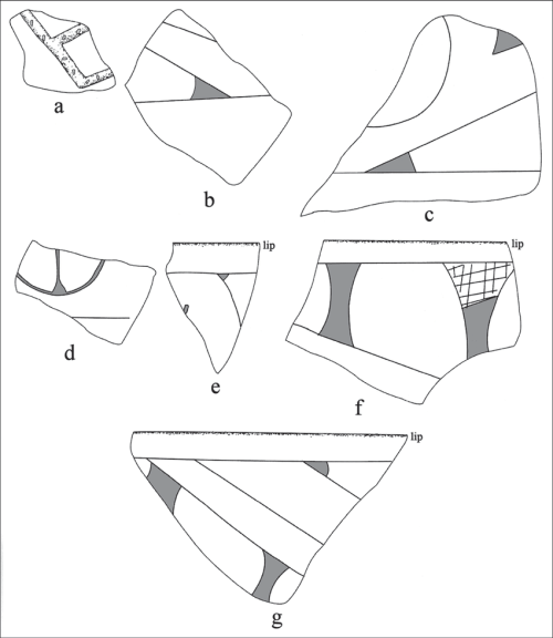 small resolution of selected decorative elements on the sherds from the pine tree farm site