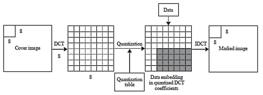 Discrete cosine transform (DCT)-based data-hiding using