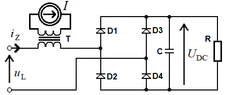 Diagram of one-phase full bridge rectifier with current